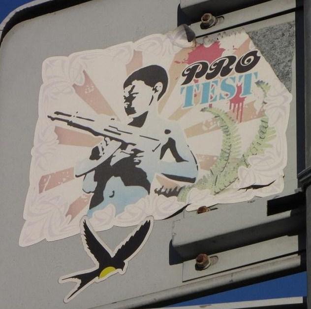 sticker protest plus machine-gun Baltic region