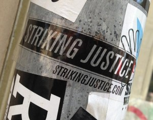sticker striking justice Amsterdam 2013