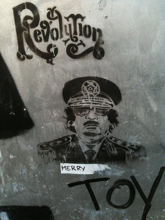 Gaddafi graffiti 'Revolution', Amsterdam, the Netherlands