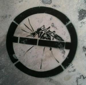 'Verboden voor muggen' graffiti