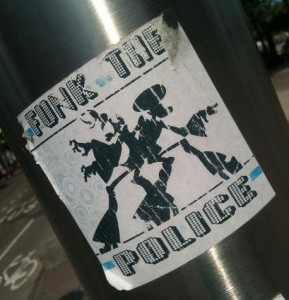 sticker 'funk the police'