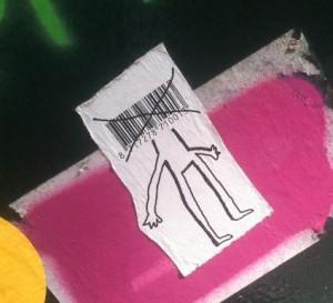 sticker 'mens - barcode als hoofd'