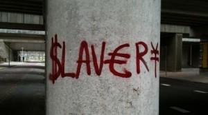 'Slavery' graffiti, bij WTC