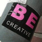 sticker 'be creative', Amsterdam