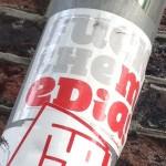 sticker fuck the media Amsterdam 2013