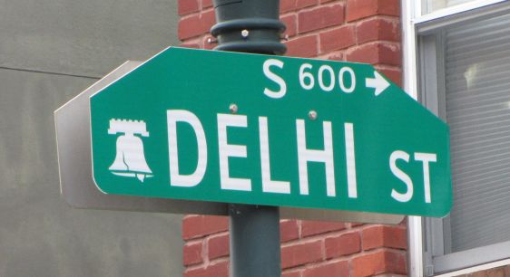 Delhi street st traffic sign Philadelphia 2014 July rape India