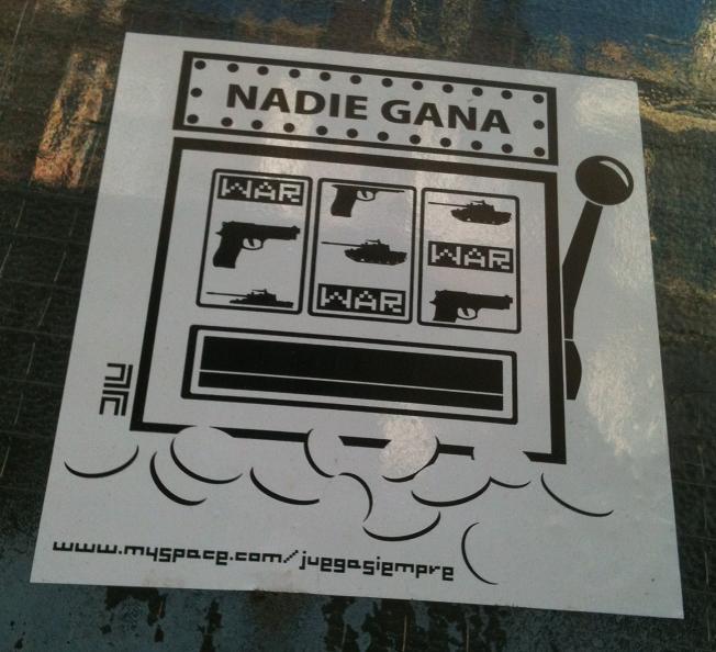sticker 'Nadie gana - war'