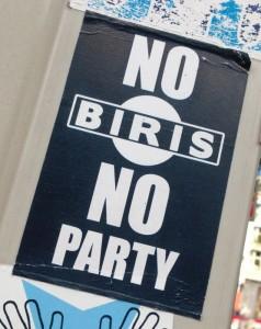 sticker no biris no party Amsterdam center 2013 September