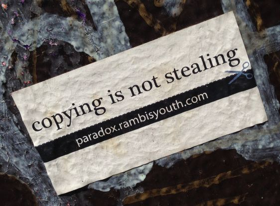sticker copying not stealing 2014 May Amsterdam Center paradox rambis youth