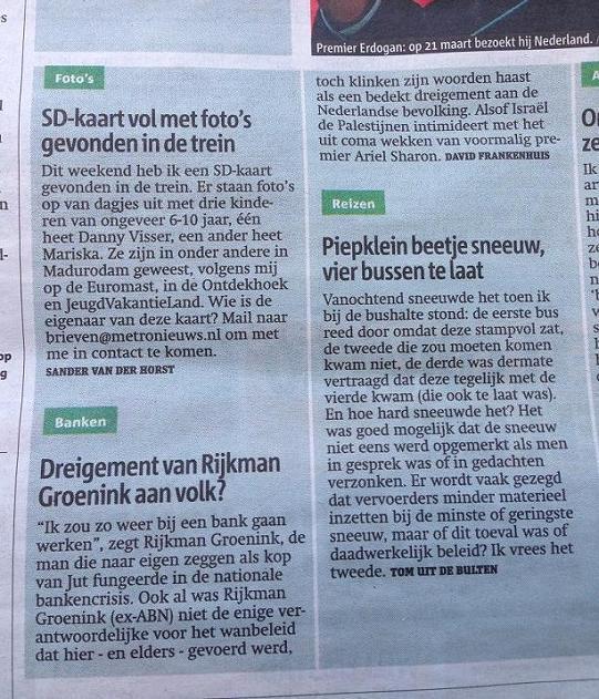 Metro brief dreigement Rijkman Groenink volk 2013 maart
