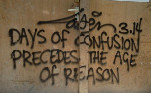 days of confusion precede the age of reason Laser 3.14 graffiti Amsterdam August 2013