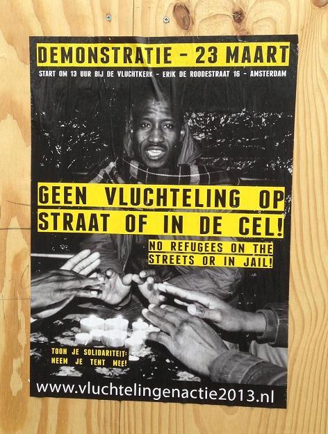 demonstratie 23 maart geen vluchteling op straat of in de cel poster