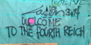 graffiti Laser 3.14 2014 March Amsterdam center welcome to the fourth reich