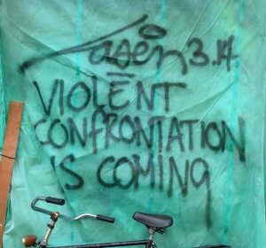 graffiti Laser 3.14 Amsterdam center 2013 September violent confrontation is coming