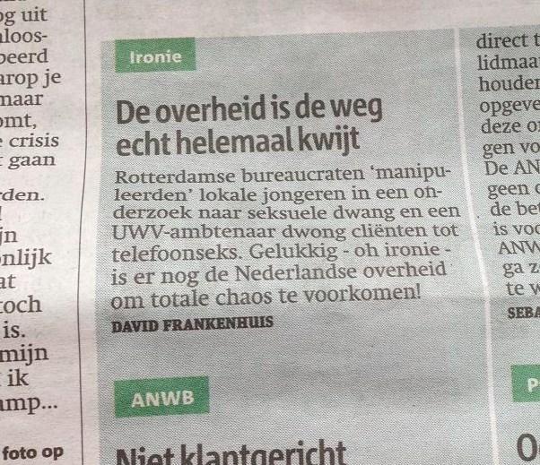 ingezonden brief Metro maart 2013 Overheid is weg kwijt