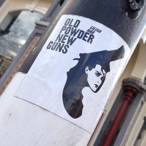 sticker Lilian Hak old powder new guns Amsterdam