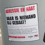 sticker ROC agressie & haat Amsterdam