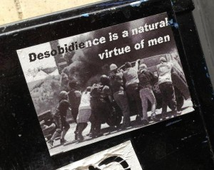 sticker desobidience is a natural virtue of men Amsterdam