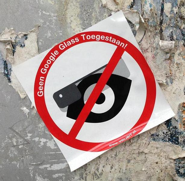 sticker geen Google glass toegestaan Amsterdam De Pijp August 2013 not allowed forbidden