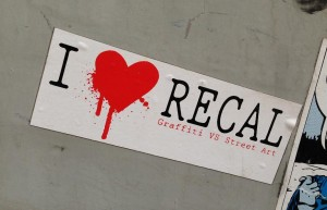 sticker i love recal  graffiti vs street art Amsterdam 2013