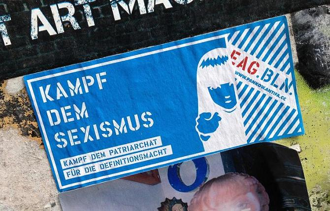 sticker kampf dem Sexismus Amsterdam