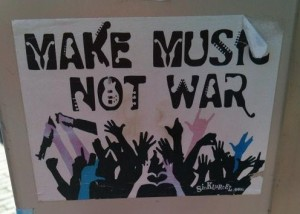 sticker 'make music, not war'