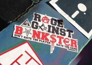 sticker rage against bankster Amsterdam