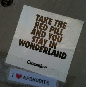 sticker take red pill and stay in Wonderland