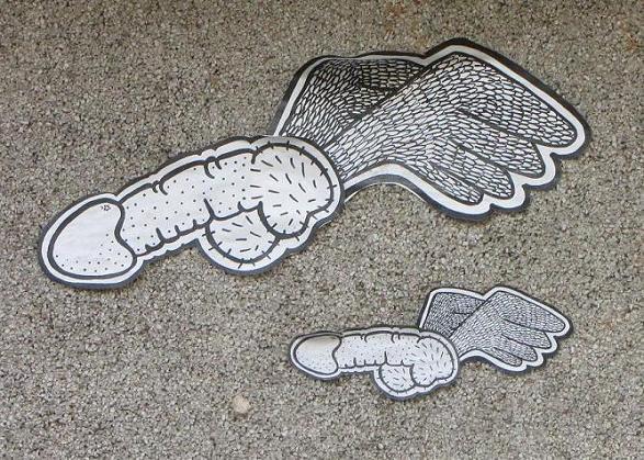 sticker 'vliegende penis vleugels', Baltics