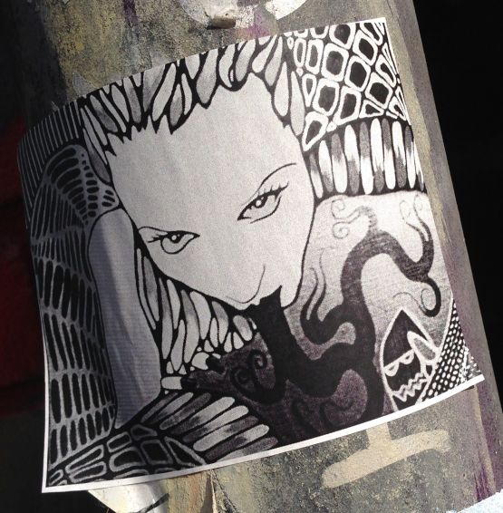 sticker woman weird tongue Amsterdam center 2013 September girl #art