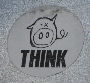 sticker 'zwijntje think'