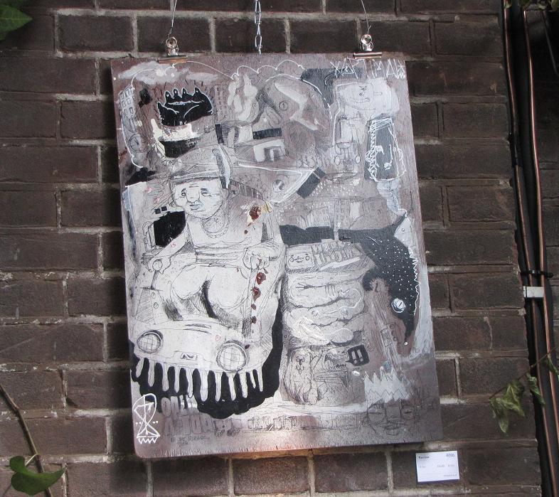 Narcoze artwork ballpoint on wood Amsterdam Westergasterras