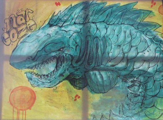 Narcoze prehistoric shark Amsterdam Westergasterras streetart