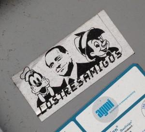 sticker Los tres amigos Berlusconi Pinokkio Goofy Amsterdam