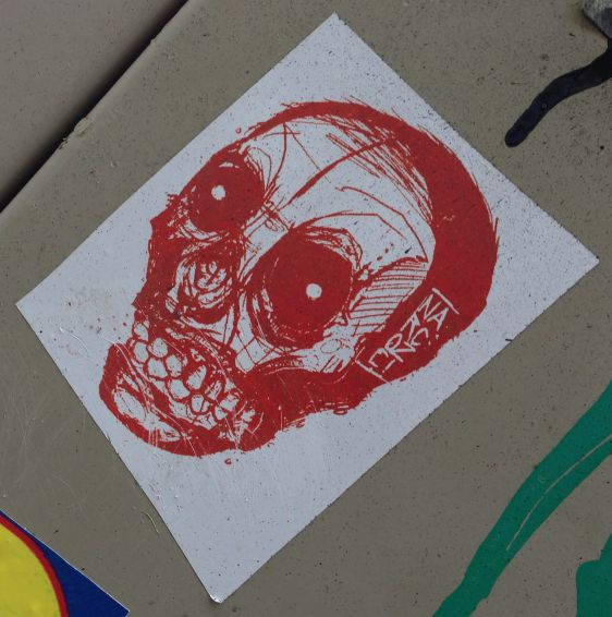 sticker Narcoze Amsterdam center 2014 February skull red schedel