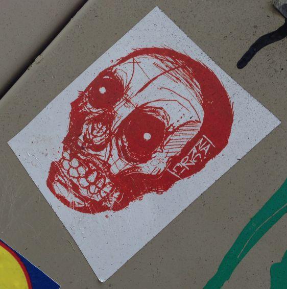 sticker Narcoze Amsterdam center 2014 February skull red schedel