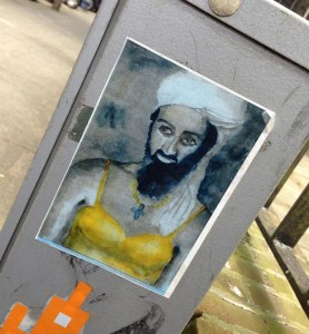 sticker Osama bin Laden with bra Amsterdam