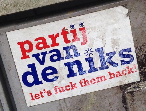 sticker Partij van de Niks Amsterdam 2014 March Lets fuck them back