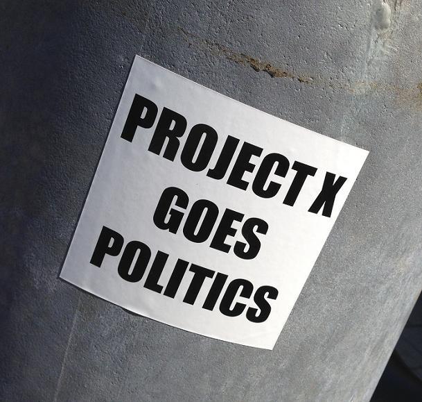 sticker Project X goes politics Amsterdam