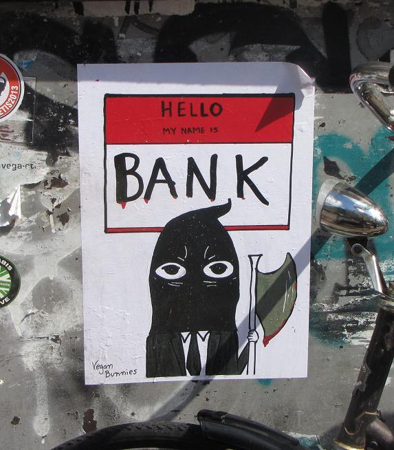 sticker Vegan Bunnies hello my name is bank Amsterdam