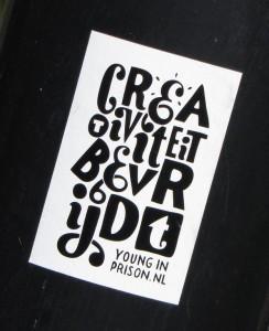 sticker creativiteit bevrijdt young in prison Amsterdam