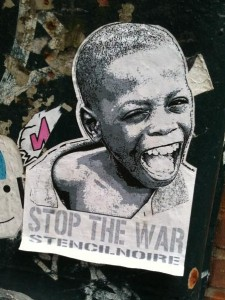 sticker stop the war stencil-noire