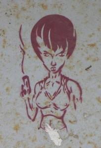 graffiti girl with gun Baltics 2012 woman pistol