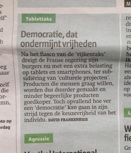ingezonden brief Metro mei 2013 democratie vrijheid
