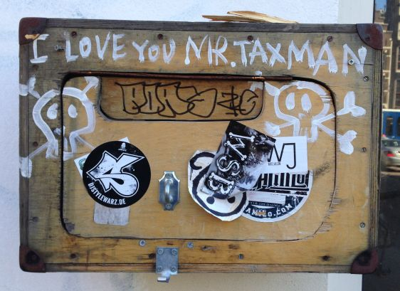 paint i love you mr taxman Amsterdam center 2014 March street art