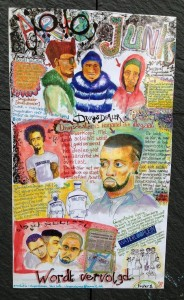 poster drugsdealer Amsterdam bij Sjako