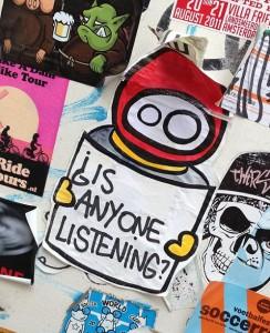 sticker LN is anyone listening Amsterdam