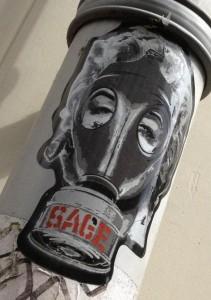 sticker Sage gasmask Amsterdam 2013 gasmasker