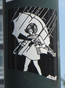 sticker Slicky Philadelphia 2014 July girl machine-gun umbrella woman
