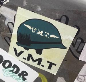 sticker V.M.T. legerhelm Amsterdam army helmet